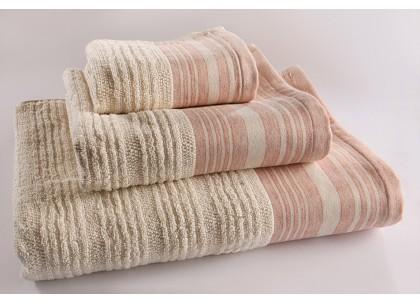 Λίνον πετσέτα λουτρού 830, 100% βαμβάκι εκρού - κοραλλί 90 Χ 150